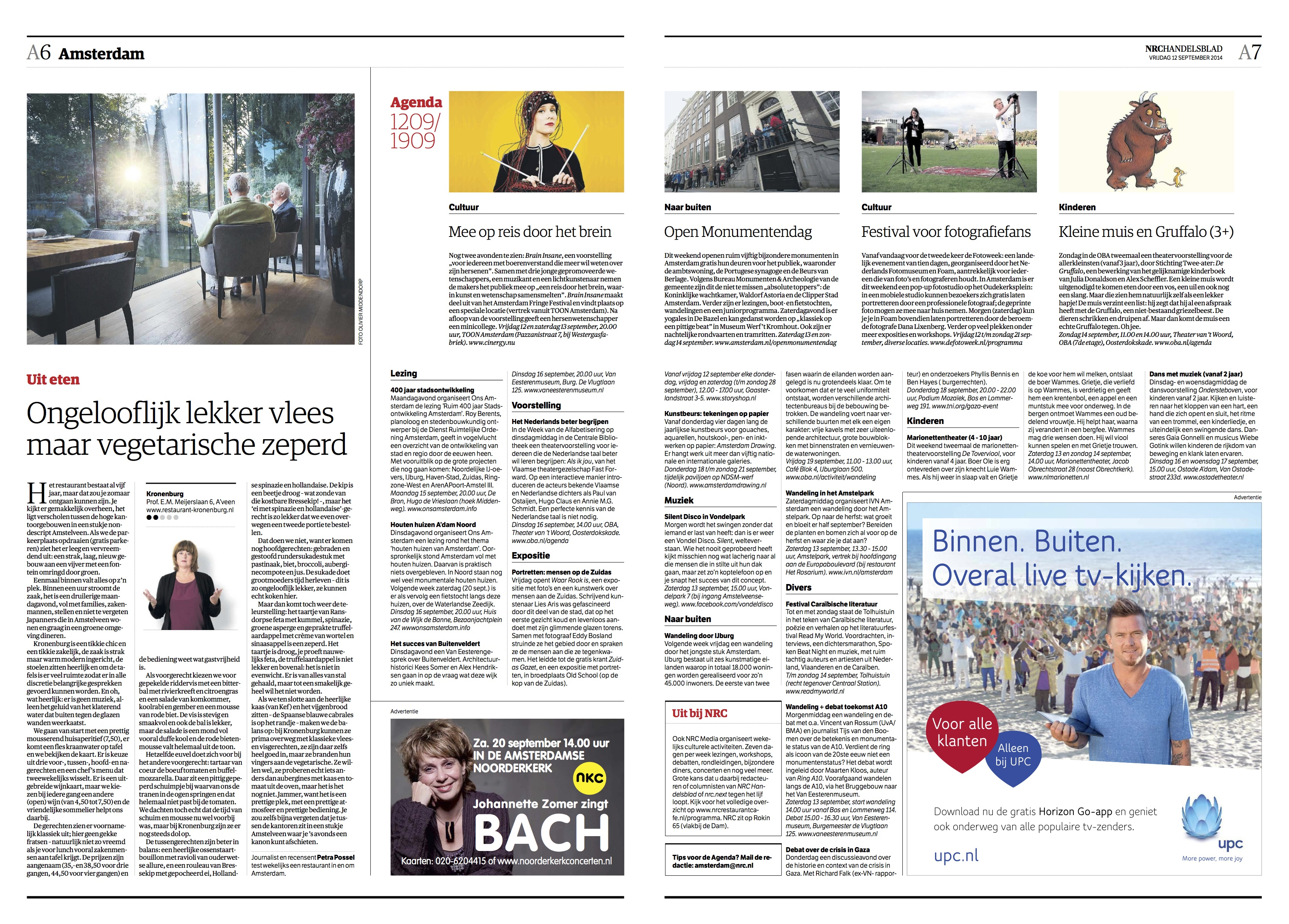 Ondersteboven in Ostade - NRC agenda Amsterdam - vr 12 september 2014