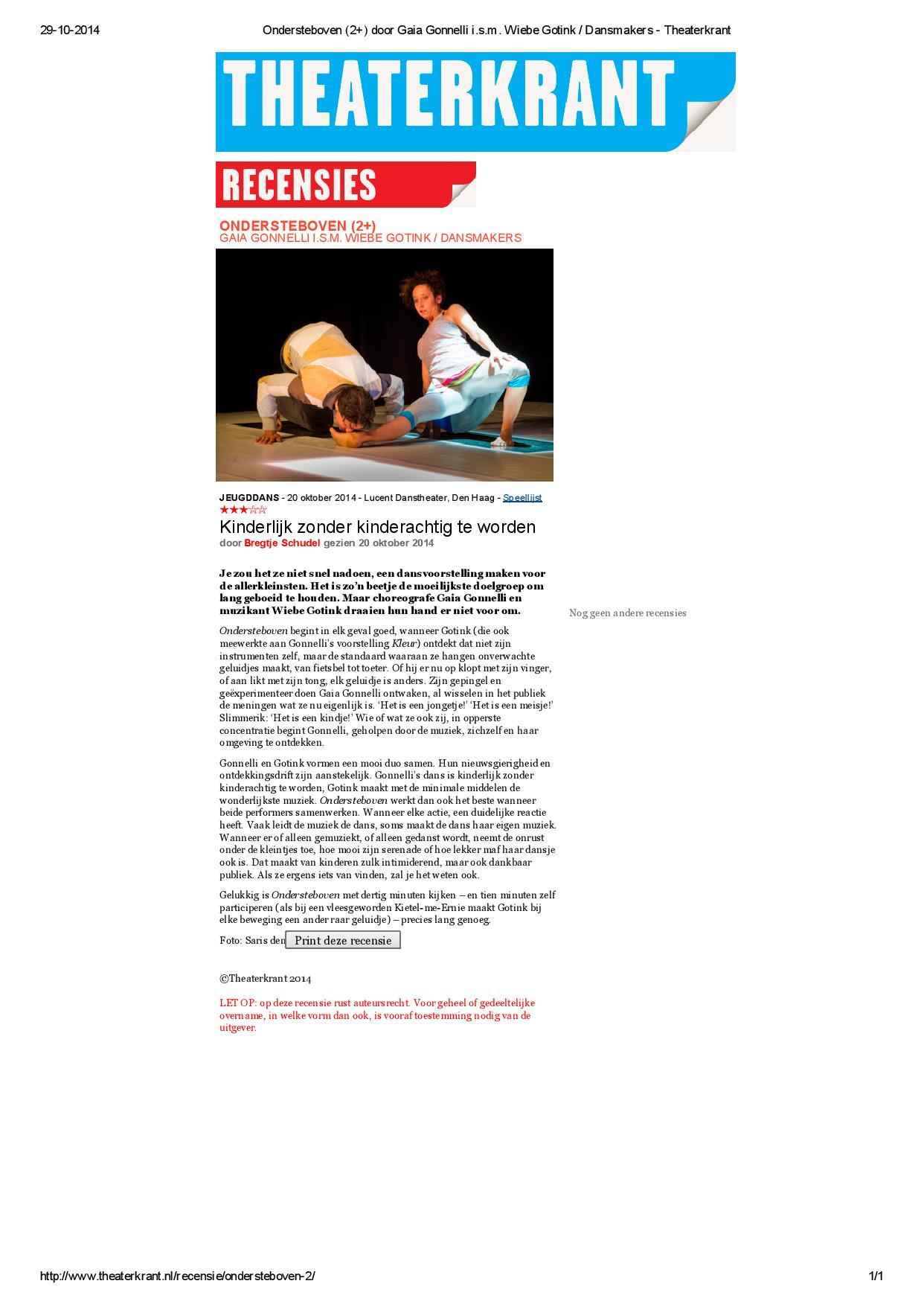 Recensie Ondersteboven - Theaterkrant - 20 okt. 2014